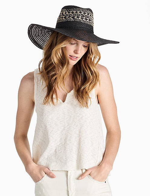 WIDE BRIM STRAW HAT,