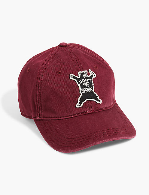 DONT FEED THE BEARS HAT, BURGANDY