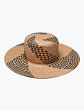 STRAW PATTERNED WEAVE BOATER HAT