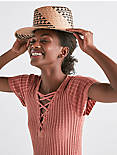 STRAW PATTERNED WEAVE BOATER HAT,
