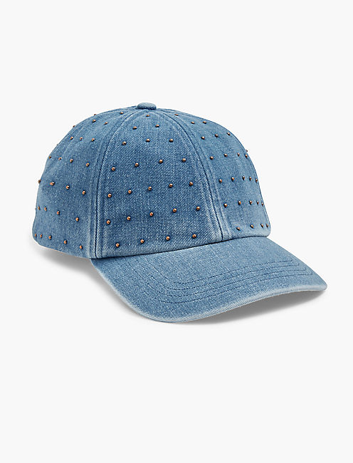 STUDDED DENIM BASEBALL HAT,
