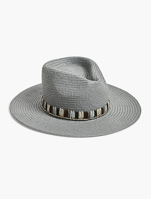 EMBROIDERED STRAW HAT, OPEN BLUE/TURQUOISE