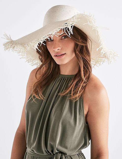 FRAYED STRAW HAT,