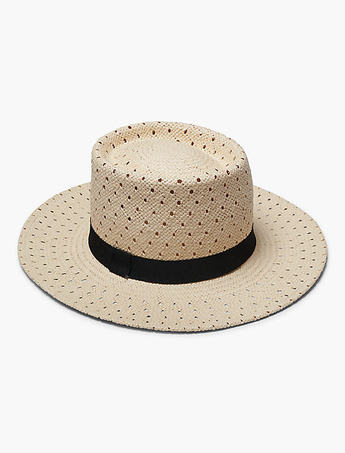 OPEN WEAVE BOATER HAT, NATURAL