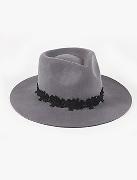 LACE TRIM WOOL HAT