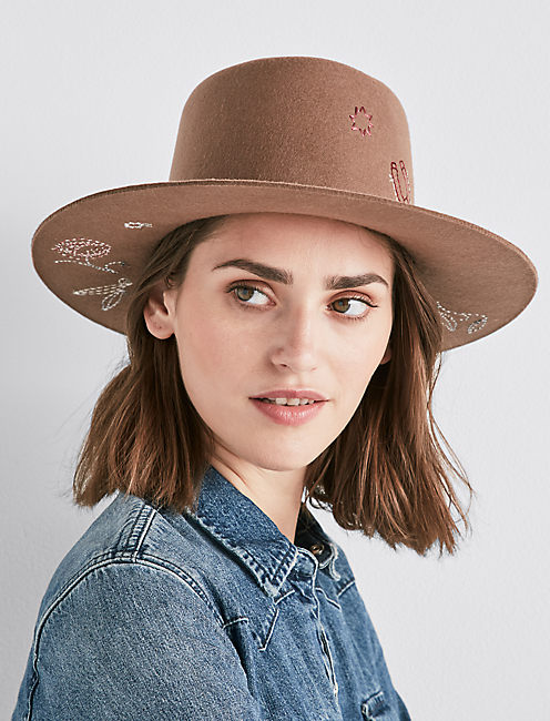 FLORAL EMBROIDERED WOOL HAT, BROWN