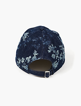 DENIM FLORAL BASEBALL HAT