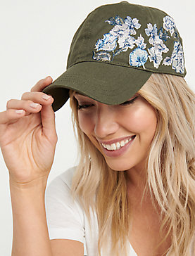 EMBROIDERED FLORAL BASEBALL HAT