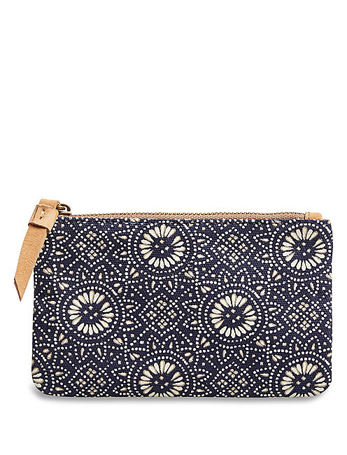 SMALL CANVAS POUCH, NAVY PRINT