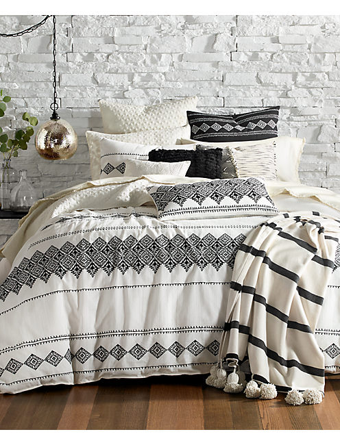 Embroidered Ikat Bedroom Collection,