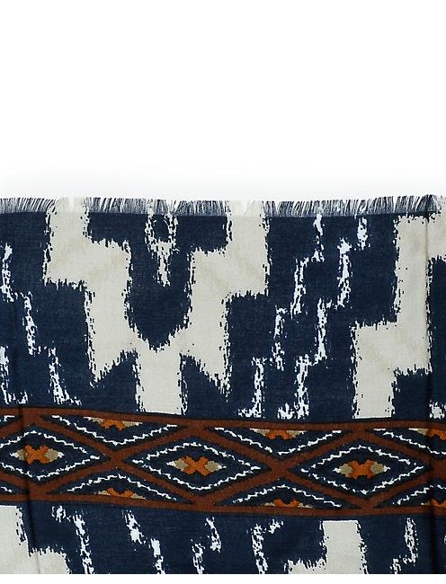 AZTEC BORDER SCARF, WHITE