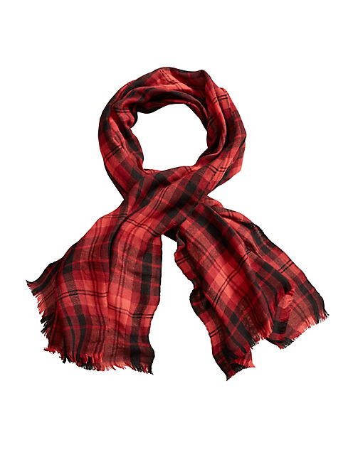 JACQUARD PLAID SCARF, MEDIUM DARK RED
