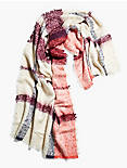 OVERSIZED PLAID SCARF, CORAL