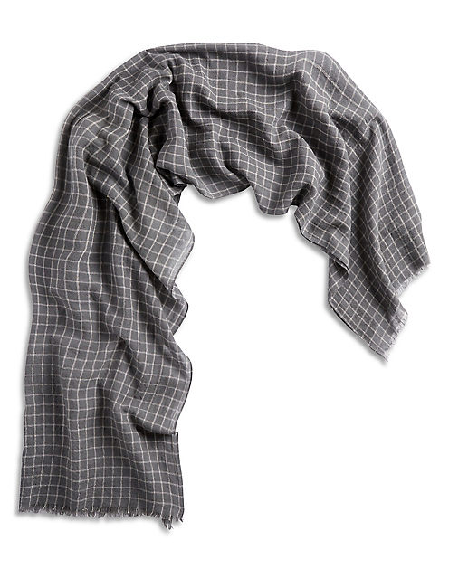 MENS CHARCOAL GRID SCARF,