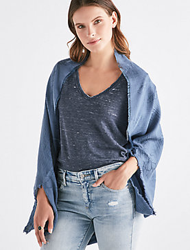TEXTURED STRIPE BOLERO