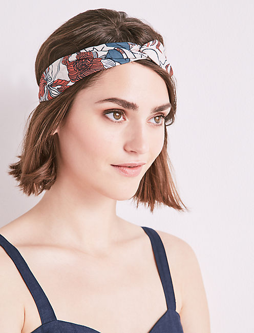 EXPLODED FLORAL TWISTED HEADSCARF,