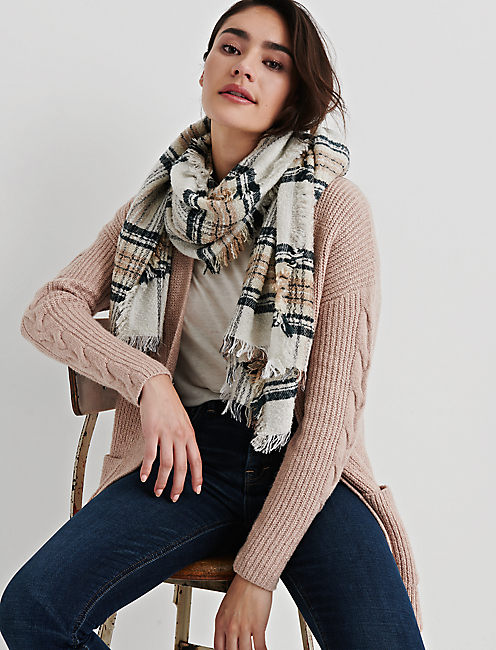 TEXTURED PLAID SCARF,