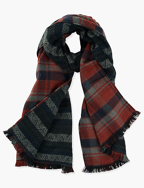 STRIPE PLAID DUOFOLD SCARF,