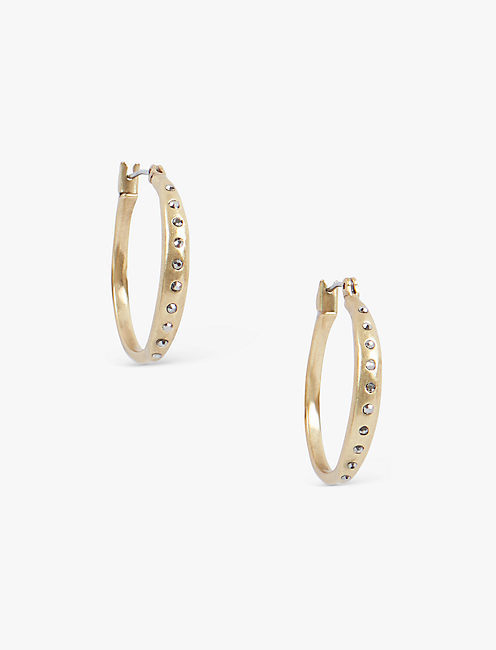GOLD PAVE HOOPS,