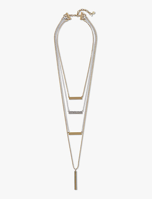 TWO TONE LAYER BAR NECKLACE,