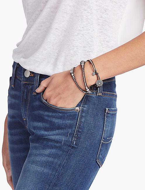 Lucky Silver Pave Wrap Bracelet
