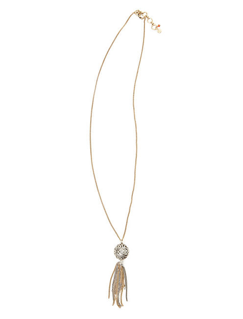 TASSEL NECKLACE, TWO TONE