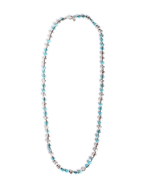 TURQUOISE COIN NECKLACE, SILVER