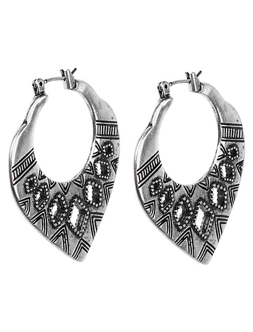 TRIBAL HOOP EARRING, SILVER