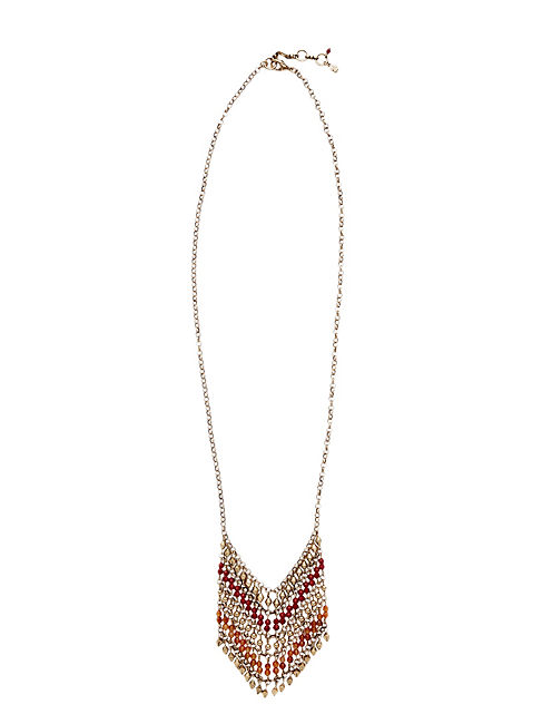 BEADED PENDANT NECKLACE, 715 GOLD