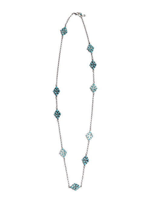 TURQUOISE STRAND NECKLACE, SILVER