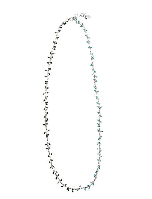 BEADED STRAND NECKLACE, SILVER