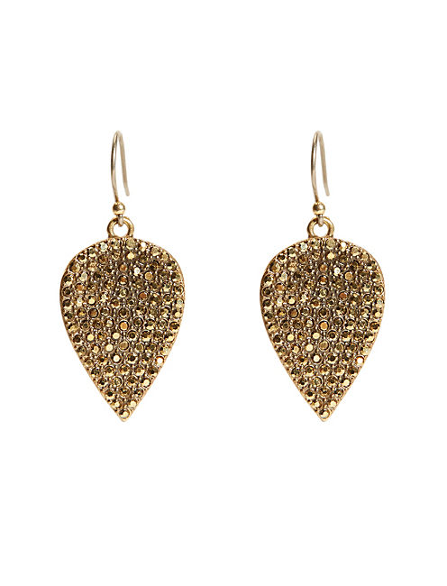 PAVE GUITAR PICK EARRING, 715 GOLD