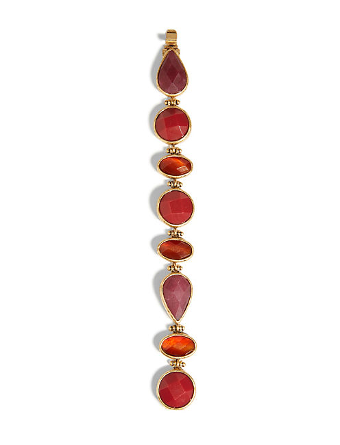 RED SET STONE BRACELET, 715 GOLD