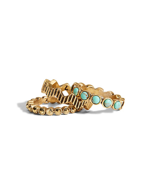 TURQUOISE PAVE STACK RING, 715 GOLD
