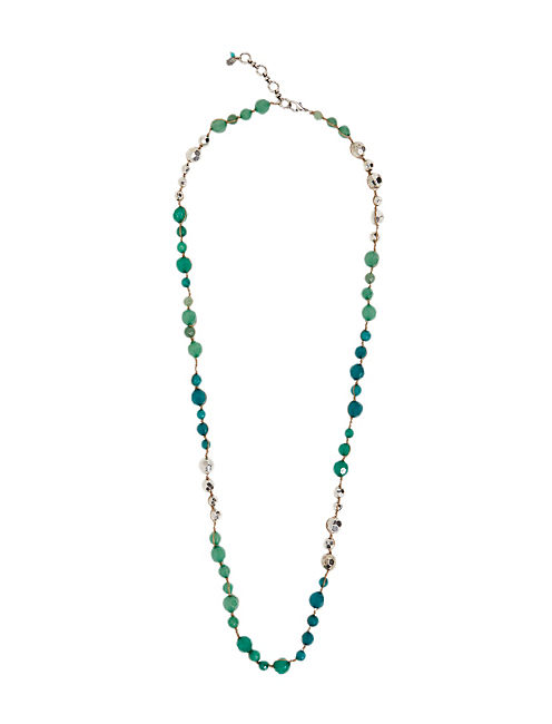 LONG BEADED NECKLACE, SILVER