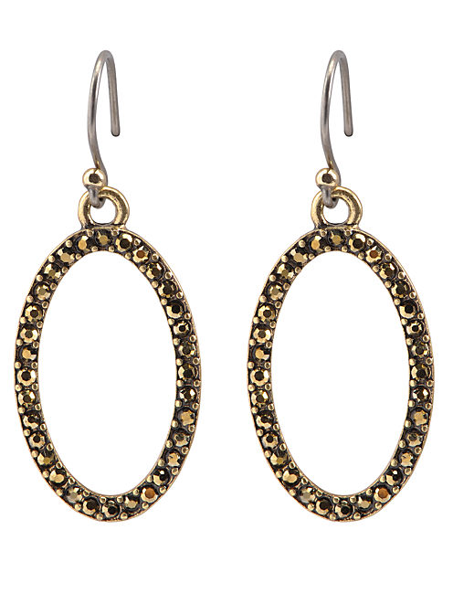 PAVE DROP EARRING, 715 GOLD