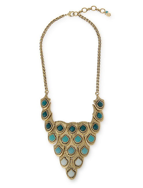 FISH SCALE BIB NECKLACE, 715 GOLD