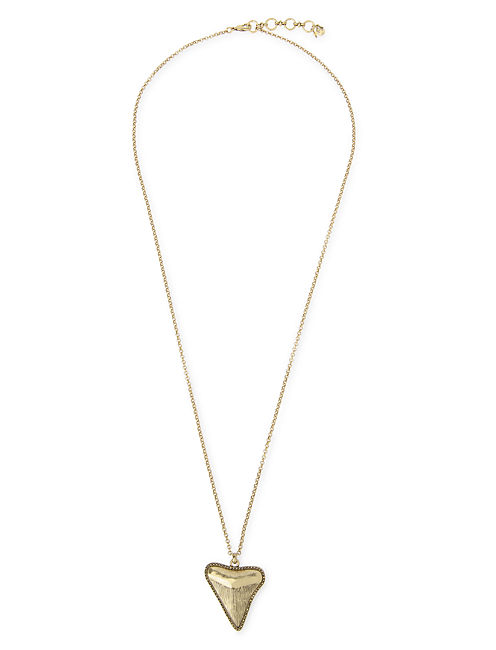 SHARK TOOTH PAVE PENDANT, 715 GOLD