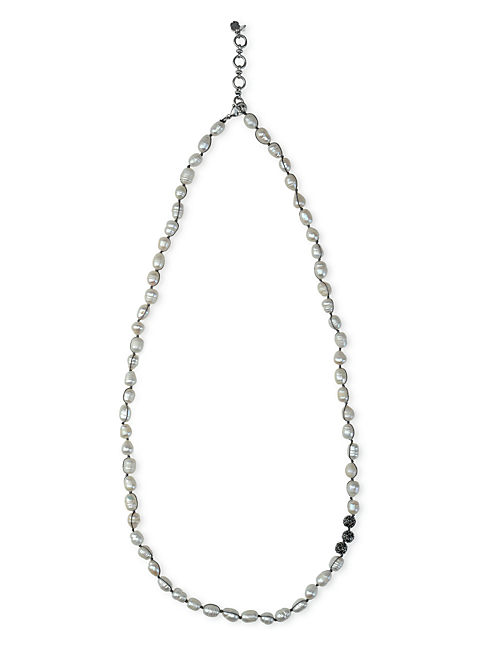 KNOTTED PEARL NECKLACE, SILVER