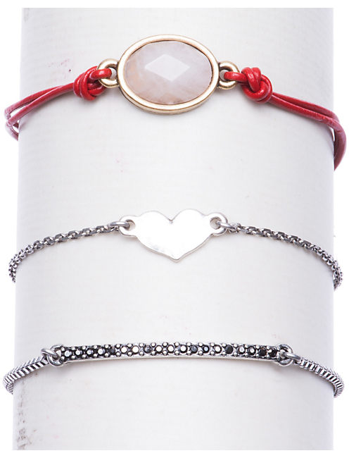 HEART BRACELET SET, MULTI