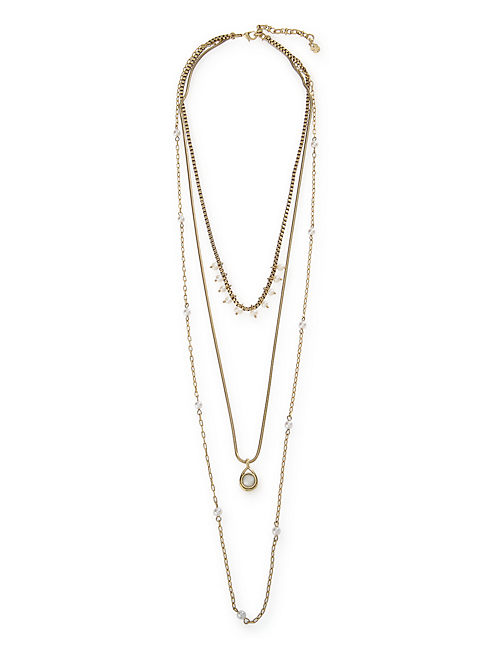 PEARL LAYERED NECKLACE, 715 GOLD