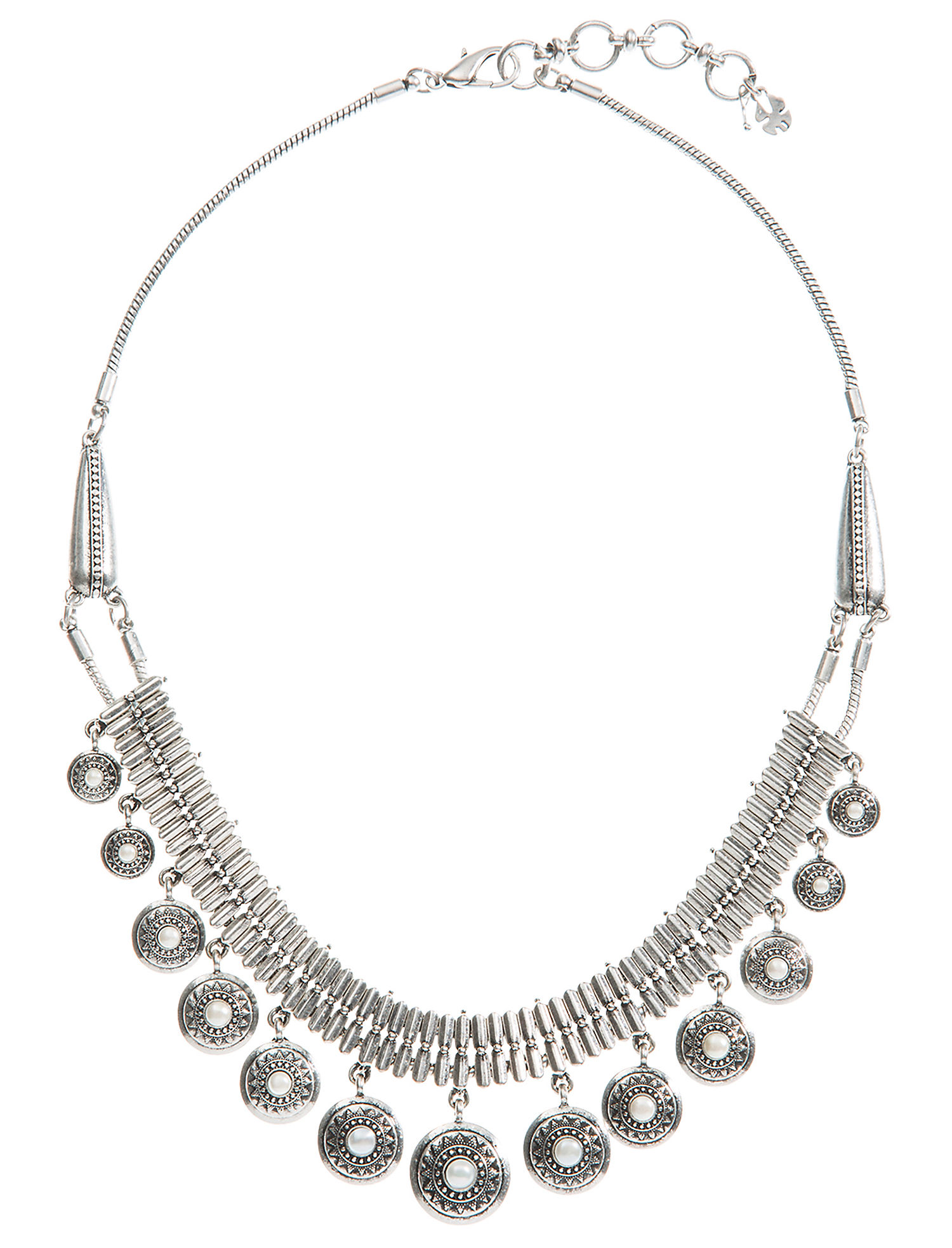 Lucky Brand Pearl Collar Necklace (Silver) Necklace