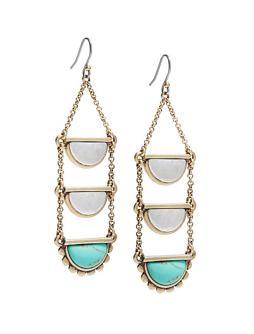 TURQUOISE LADDER EARRINGS,