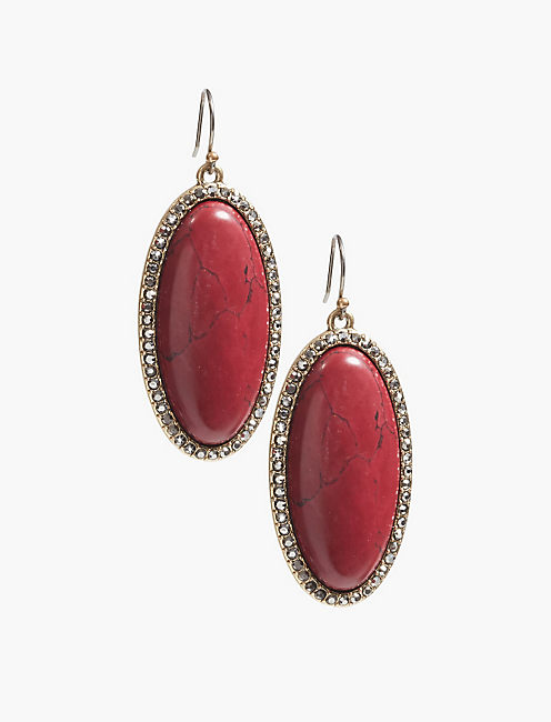 RED JADE STONE EARRING,