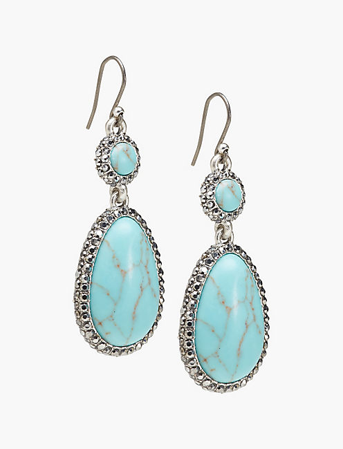 TURQUOISE PAVE DROP EARRING,