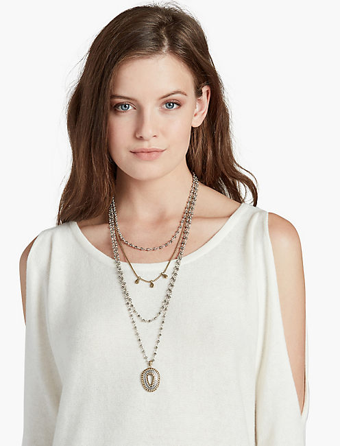 TEARDROP STATEMENT LUCKY LAYER NECKLACE,