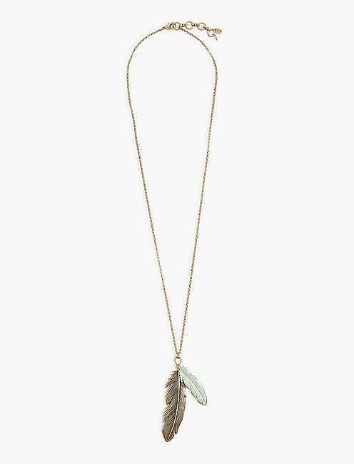 PATINA FEATHER LONG NECKLACE,