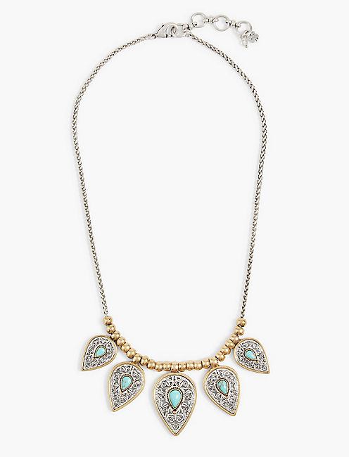 ETCHED TURQUOISE COLLAR NECKLACE,