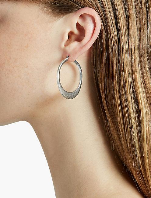SILVER ORGANIC HOOP EARRING,