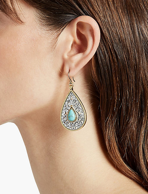 ETCHED TURQUOISE DROP EARRING,